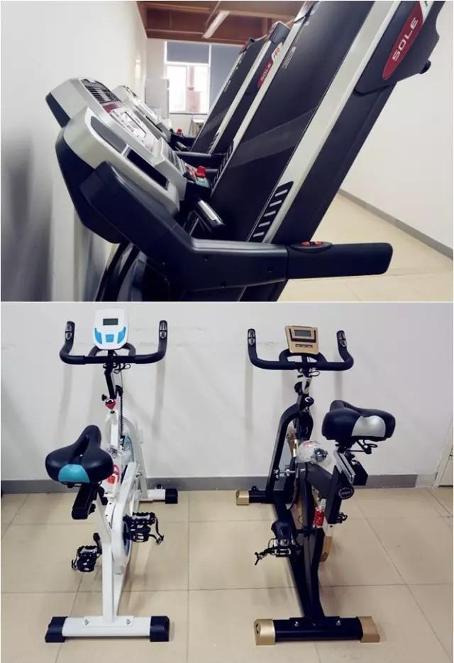 中一健身房跑步骑单车等
